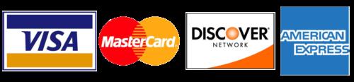 Accept Visa, MasterCard, Discover, American Express